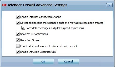 Advanced Settings Firewall BitDefender