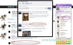 Twitter, Facebook, dan Yahoo! Messenger dengan status yang sama