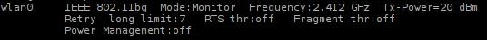 Interface wlan0 Mode: Monitor
