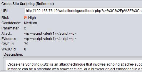 XSS injection pada parameter 'x'