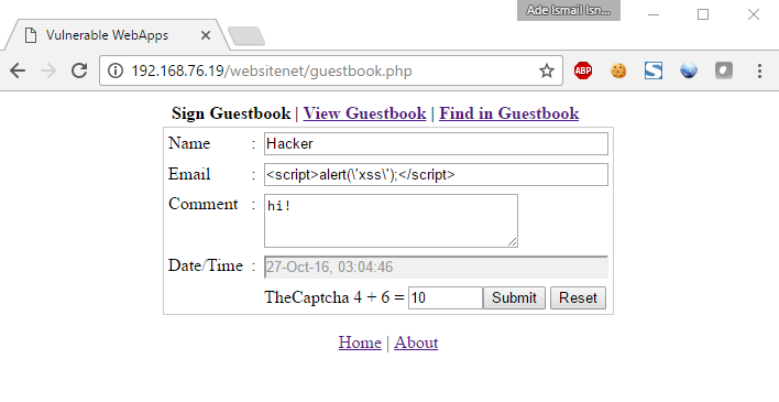 Input email dengan script alert